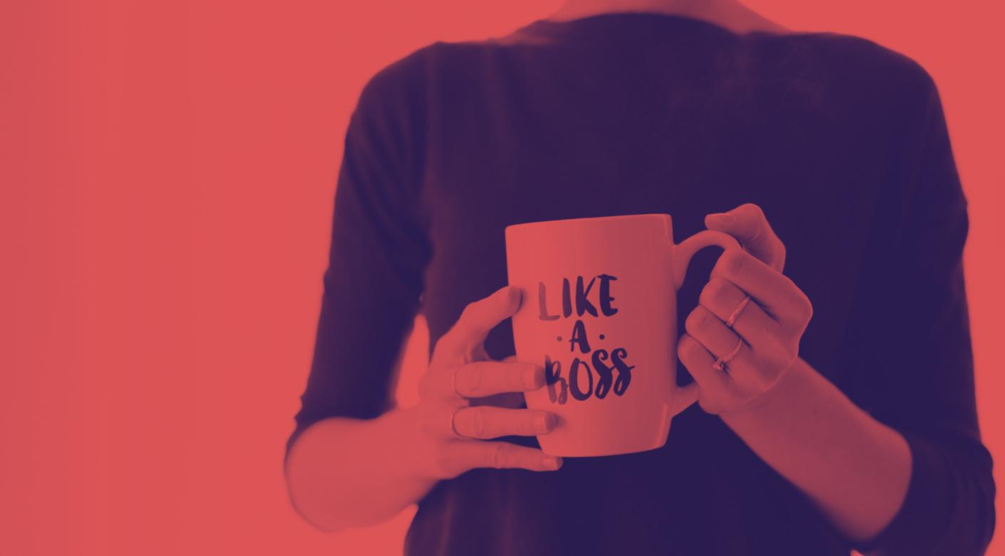 women holding like a boss mug
